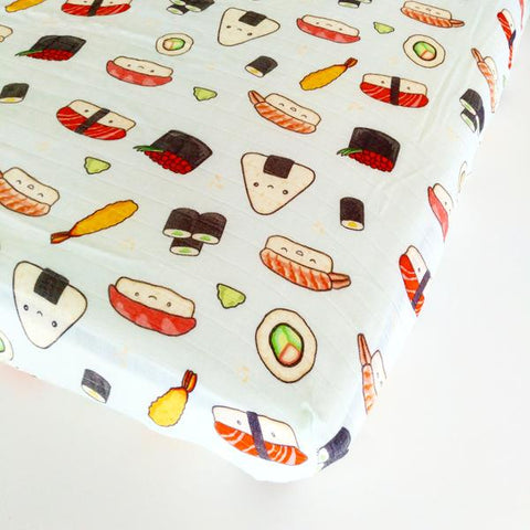 LUXE FITTED CRIB SHEET - SUSHI