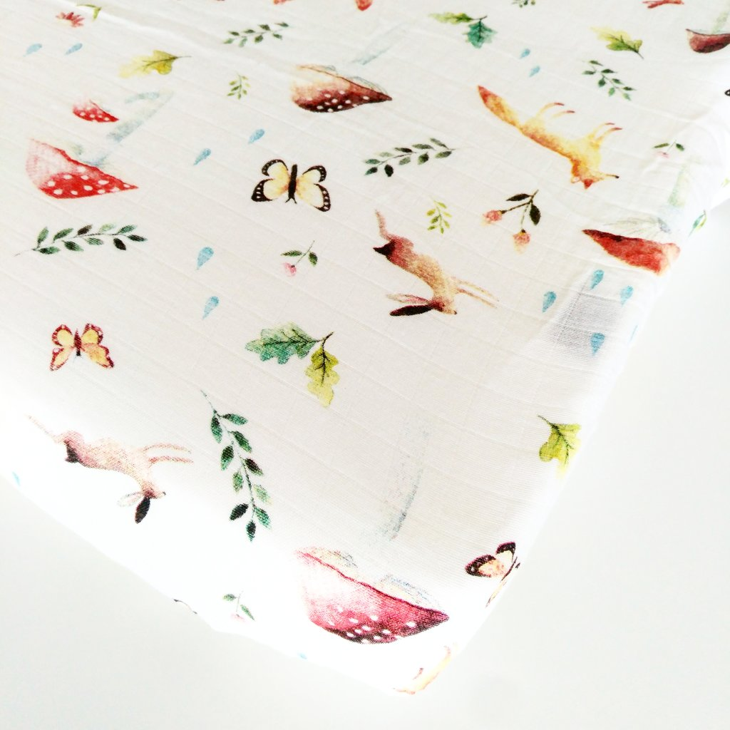 LUXE FITTED CRIB SHEET - WOODLAND GNOME