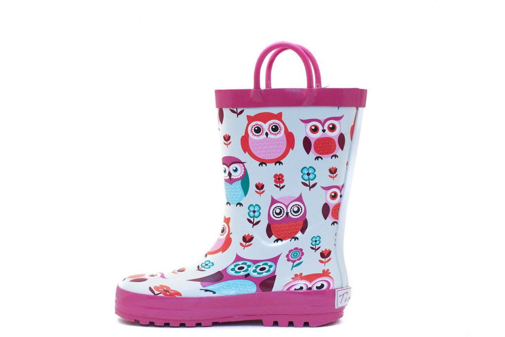 Pink Owls Timbee Rainboot