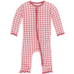 English Rose Houndstooth Muffin Ruffle Coverall with Zipper