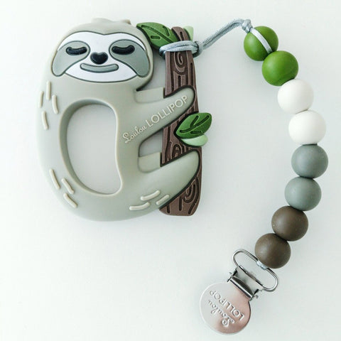 SLOTH SILICONE TEETHER SET W/HOLDER