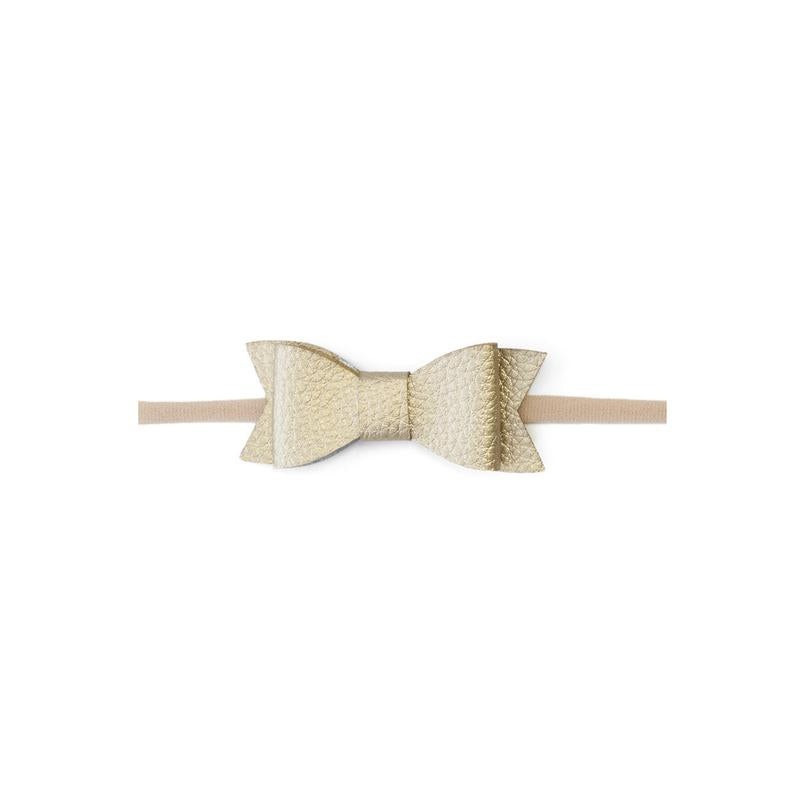 Leather Bow Tie Skinny Metallic Gold