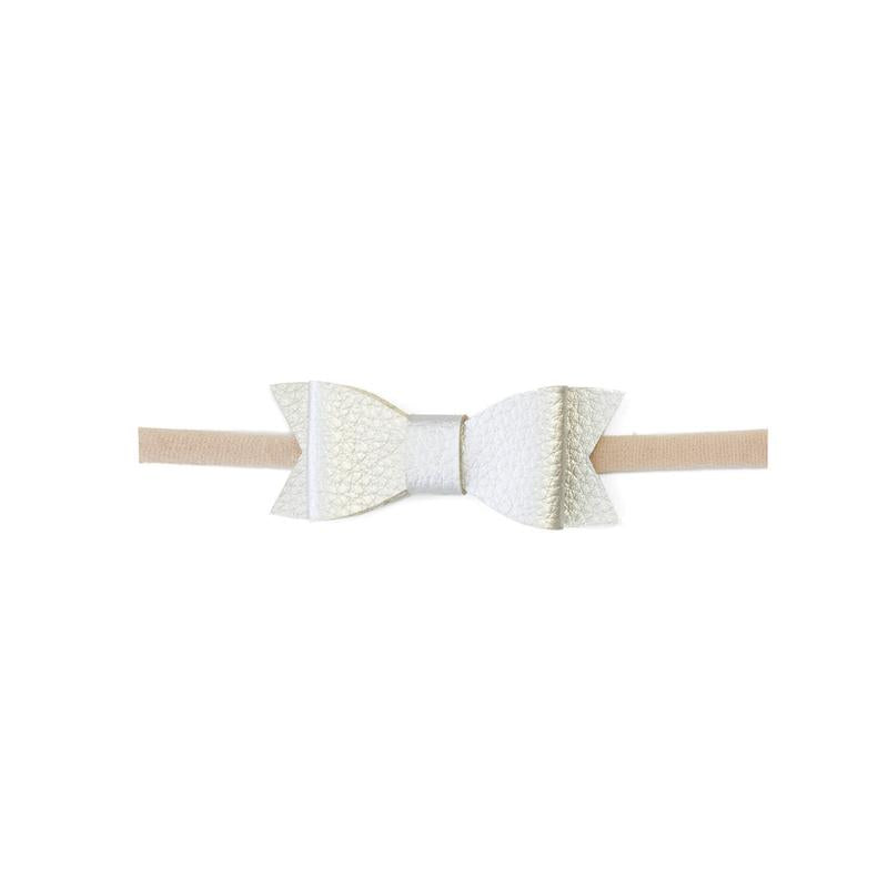 Leather Bow Tie Skinny Metallic Silver