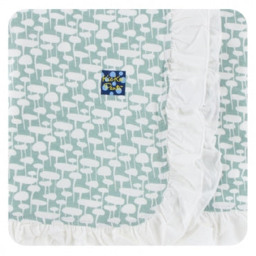 Jade Mushrooms Ruffle Stroller Blanket