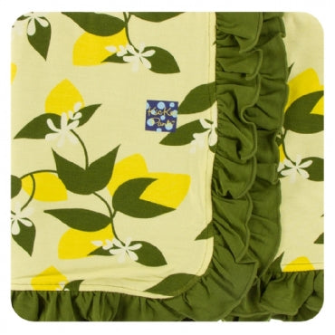 Lime Blossom Lemon Tree Ruffle Stroller Blanket