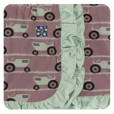 Raisin Tractor and Grass Ruffle Stroller Blanket