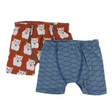 Lucky Cat and Dusty Sky Tides Boxer Briefs