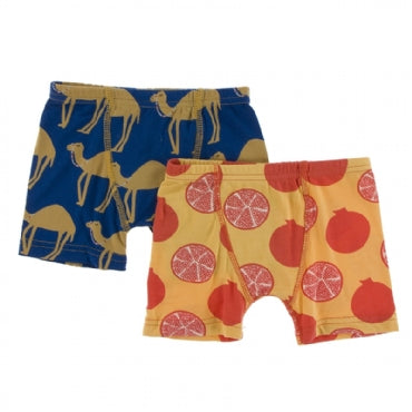 Navy Camel and Marigold Pomegranate Boxer Briefs