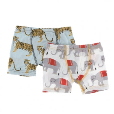 Spring Sky Tiger and Natural Indian Elephant Boxer Briefs
