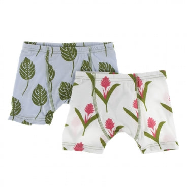 Boxer Briefs Set - Dew Philodendron and Natural Red Ginger Flower