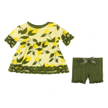 Lime Blossom Lemon Tree Short Sleeve Babydoll Outfit Set