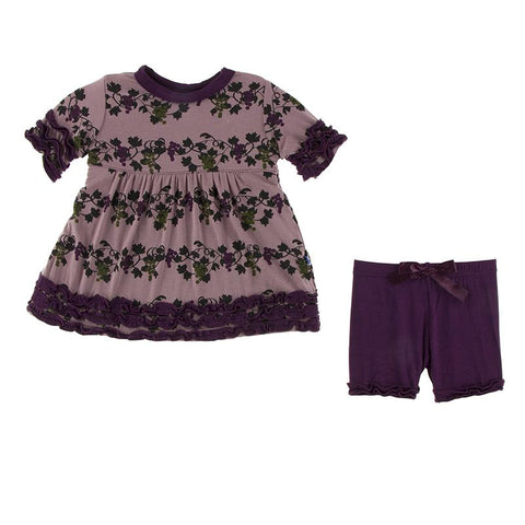 Raisin Grape Vines Short Sleeve Babydoll Outfit Set