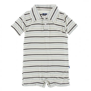 Tuscan Afternoon Stripe Short Sleeve Polo Romper
