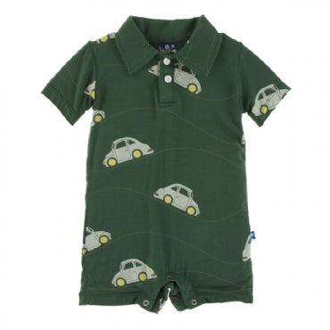 Topiary Italian Car Short Sleeve Polo Romper