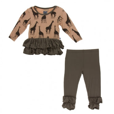 Suede Giraffes Long Sleeve Double Ruffle Outfit Set