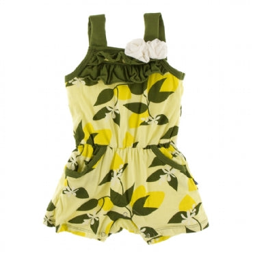 Lime Blossom Lemon Tree Romper with Pockets