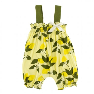 Lime Blossom Lemon Tree Gathered Romper with Bow