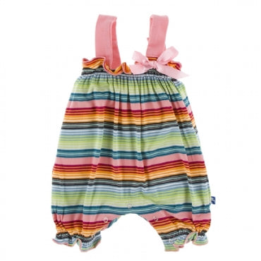 Cancun Strawberry Stripe Gathered Romper with Bow