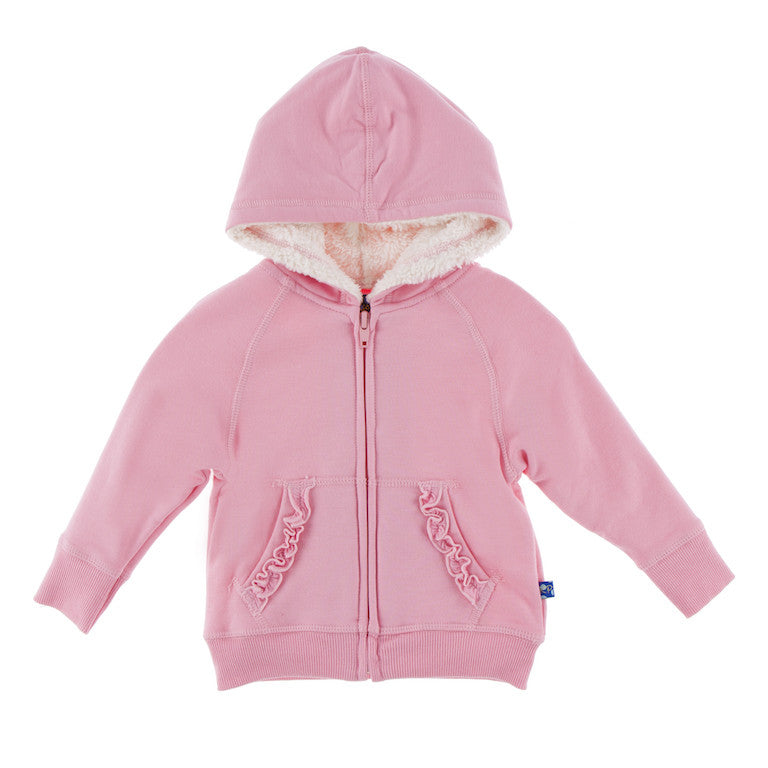 Lotus Ruffle Zip-Front Hoodie with Sherpa-lined Hood