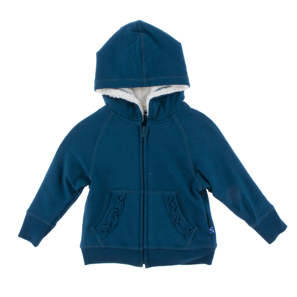 Peacock Ruffle Zip-Front Hoodie with Sherpa-lined Hood