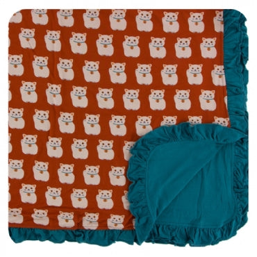 Lucky Cat Ruffle Toddler Blanket