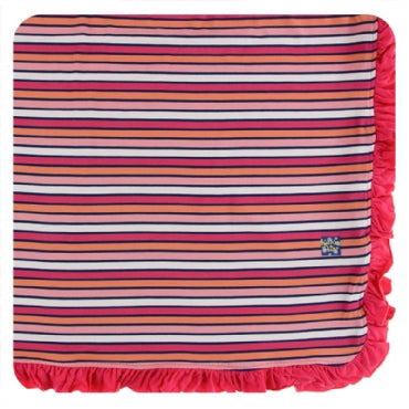 Print Ruffle Toddler Blanket - Botany Red Ginger Stripe