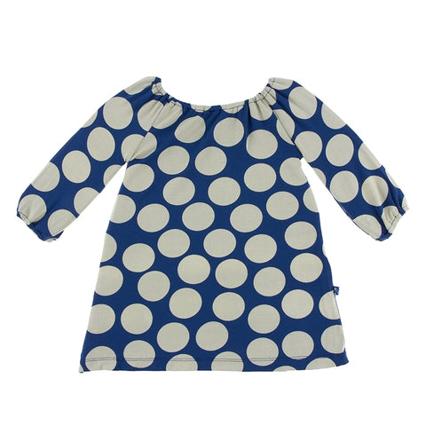 Navy Mod Dot Peasant Dress