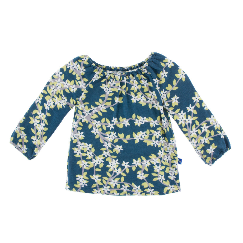 Peacock Tree Canopy Long Sleeve Peasant Top