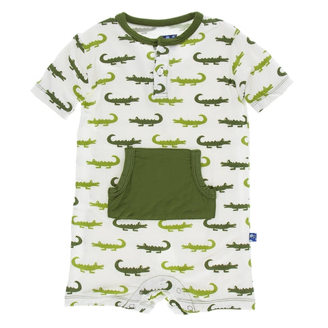 Kangaroo Romper Natural Crocodile