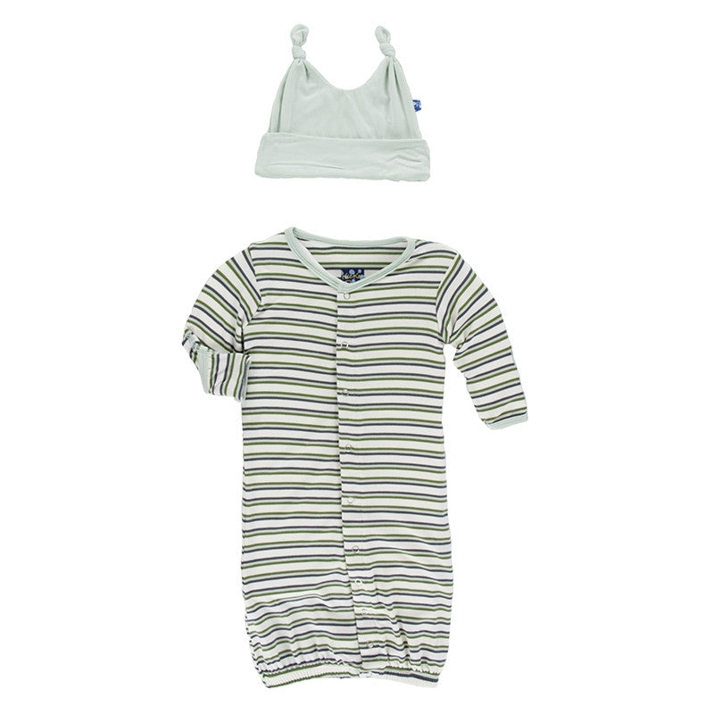 Boy Freshwater Stripe Layette Gown Converter & Knot Hat Set