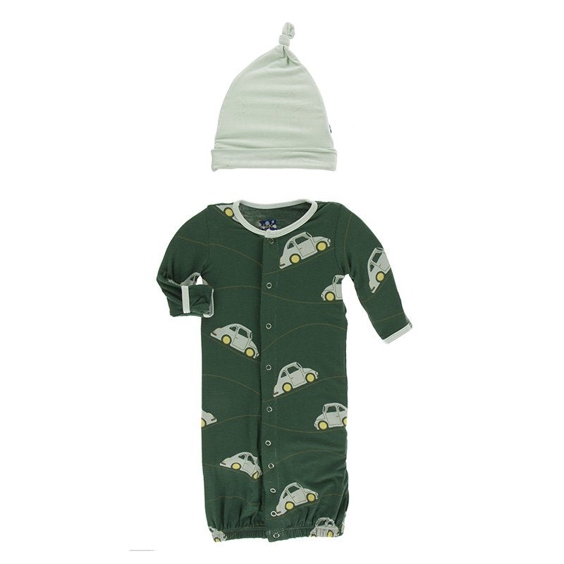 Topiary Italian Car Layette Gown Converter & Knot Hat Set