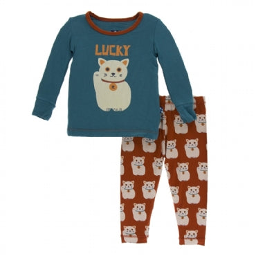 Lucky Cat Long Sleeve Pajama Set