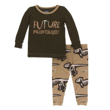 Print Long Sleeve Pajama Set  Tannin Future Paleontologist - 6 Years