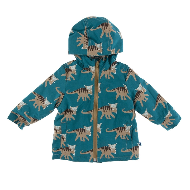 Print Sherpa-Lined Raincoat  Heritage Blue Kosmoceratops - 2T