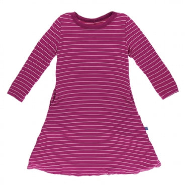 Tokyo Dragonfruit Stripe Long Sleeve Tee Shirt Dress