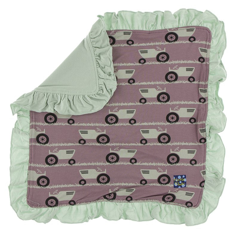 Raisin Tractor and Grass Ruffle Bamboo Lovey