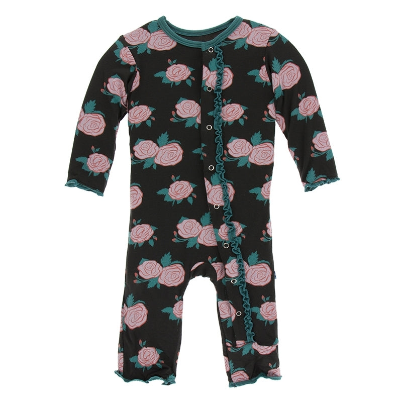 English Rose Garden Muffin Ruffle Coverall with SNAPS