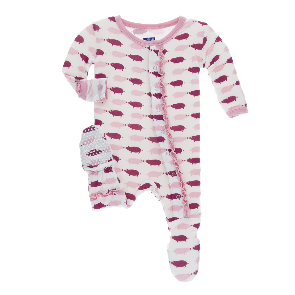 Natural Pig Layette Ruffle Footie