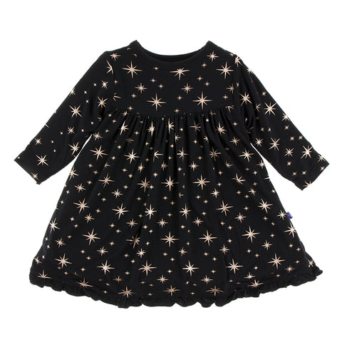 Rose Gold Bright Stars Long Sleeve Swing Dress