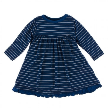 Tokyo Navy Stripe Long Sleeve Swing Dress