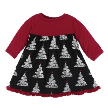 Classic Long Sleeve Swing Dress Midnight Foil Tree