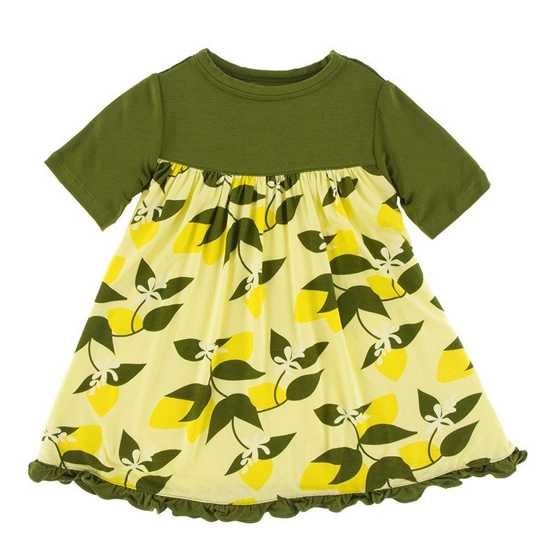 Lime Blossom Lemon Tree Short Sleeve Swing Dress