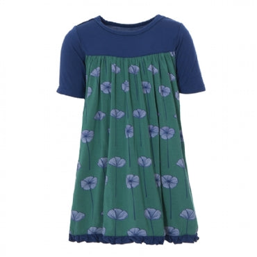 Print Classic Short Sleeve Swing Dress Ivy Poppies
