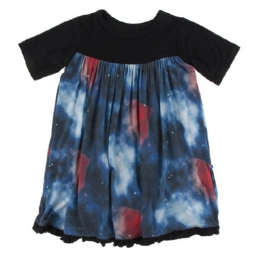 Classic Short Sleeve Swing Dress Red Ginger Galaxy