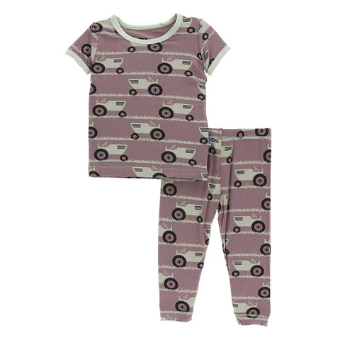 Raisin Tractor and Grass Short Sleeve Pajama Set