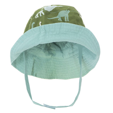 Print Reversible Bucket Hat  Moss Sauropods with Shore - 6-12 Months