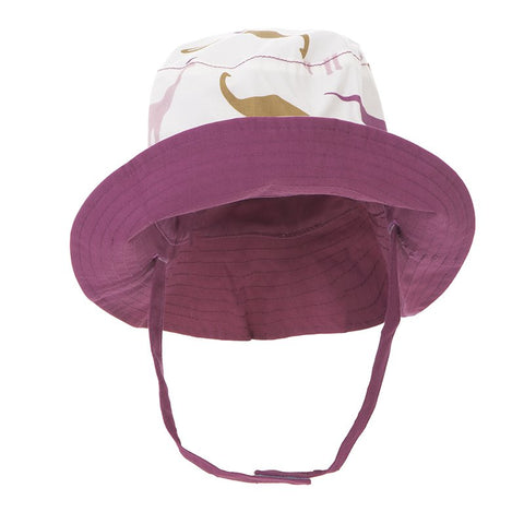 Print Reversible Bucket Hat  Natural Sauropods with Amethyst - 12-24 Months