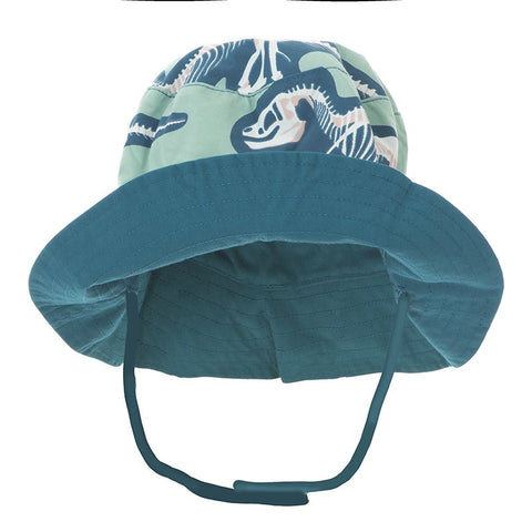 Print Reversible Bucket Hat  Shore T-Rex Dig with Heritage Blue - 12-24 Months