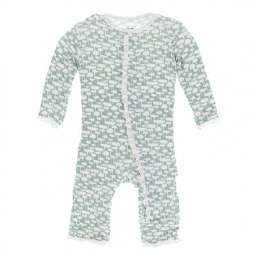 Jade Mushrooms Layette Classic Ruffle Coverall with Zipper