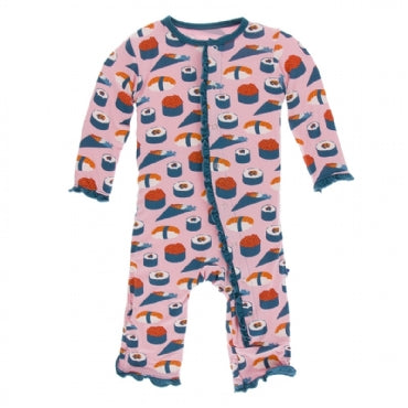 Lotus Sushi Layette Classic Ruffle Coverall with Zipper